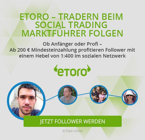 Social Trading - eToro wirbt damit, Marktführer in diesem Bereich zu sein