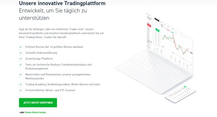 Depot Vergleich: eToro Aktienhandeln App
