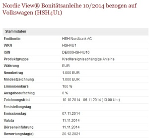 HSH Nordbank emittiert VW Bonitäts-Anleihe