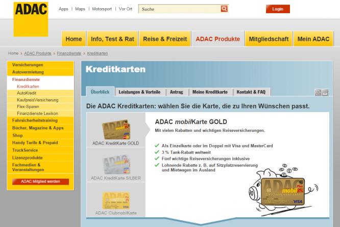Eine Auswahl an Kreditkarten beim ADAC