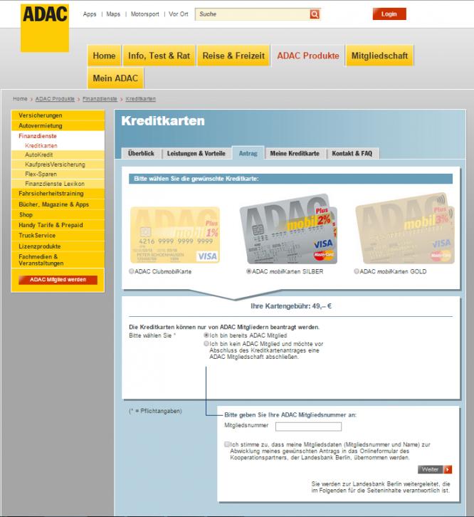 ADAC mobilKarte Kreditkarte Antrag
