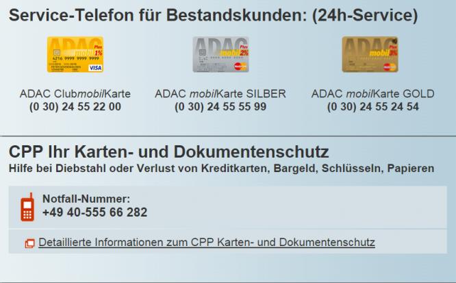 ADAC mobilKarte Kreditkarte Service-Angebot