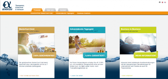 Die Homepage der Advanzia Bank