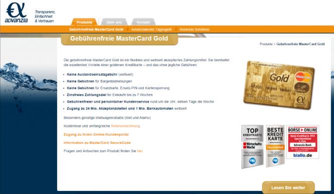 Das Angebot der Advanzia Bank Kreditkarte
