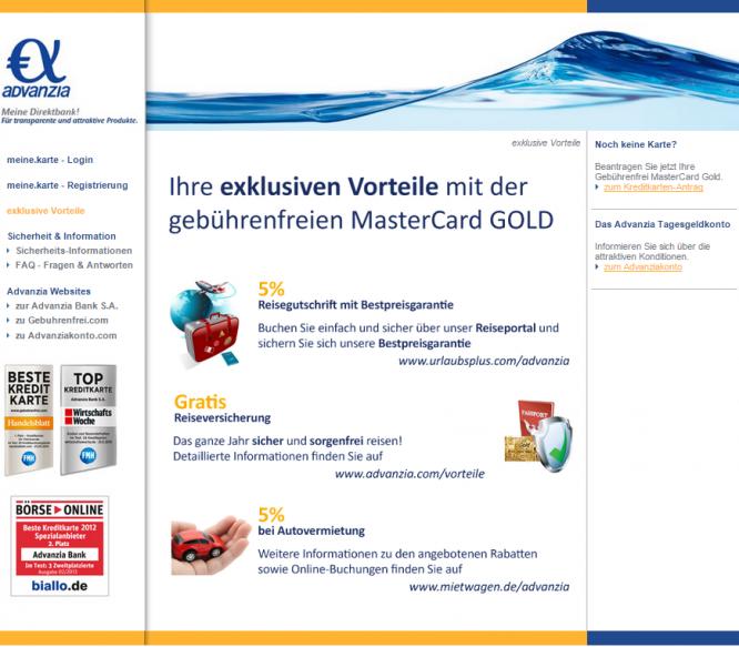 Die Vorteile der Advanzia Bank MasterCard® Gold