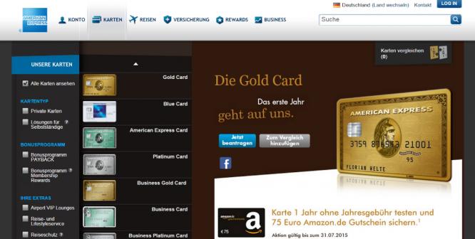 Die Homepage von American Express