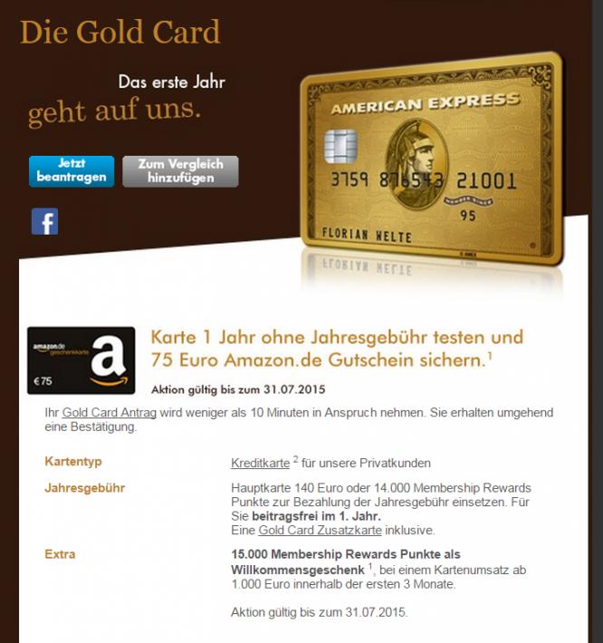 Das Angebot der American Express Gold Card