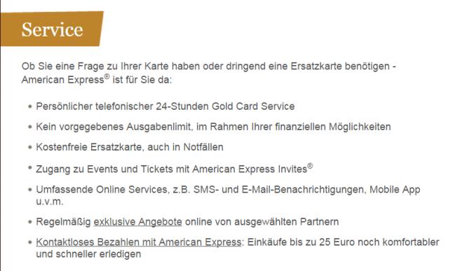 Das Serviceangebot von American Express