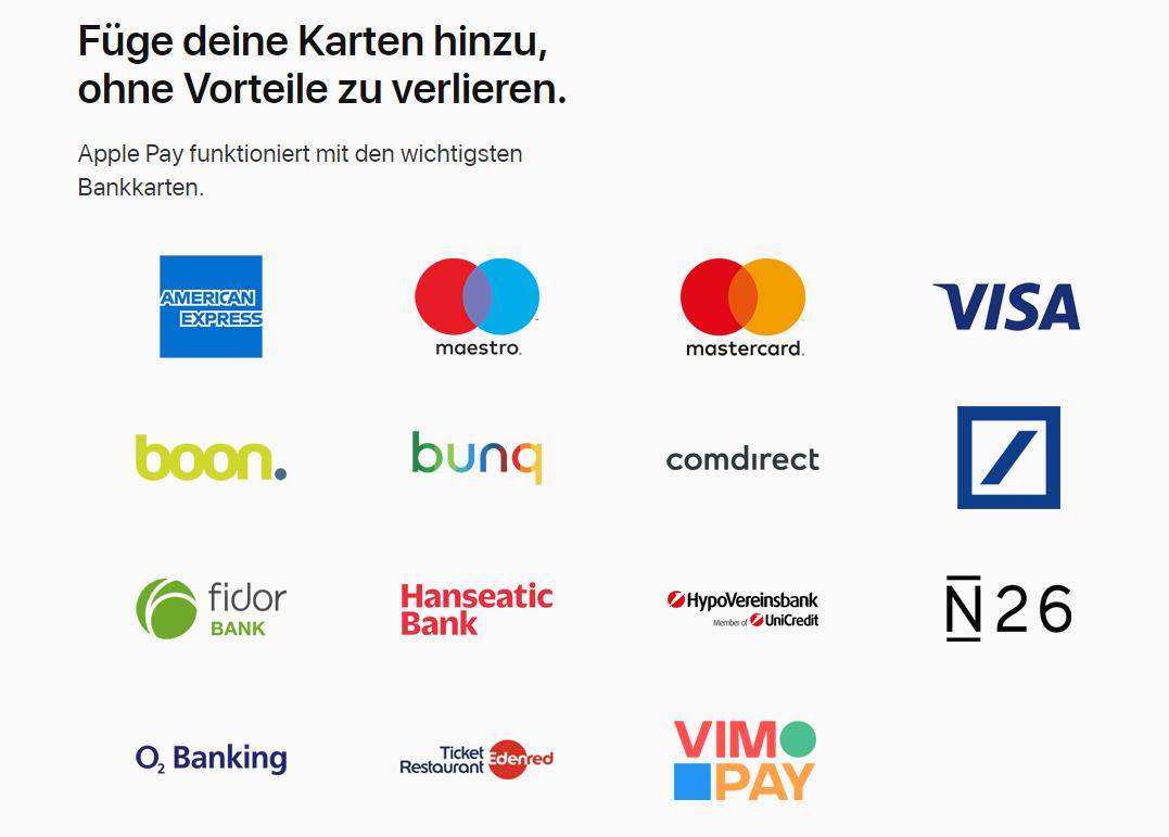 Apple Pay wird von vielen Banken unterstützt