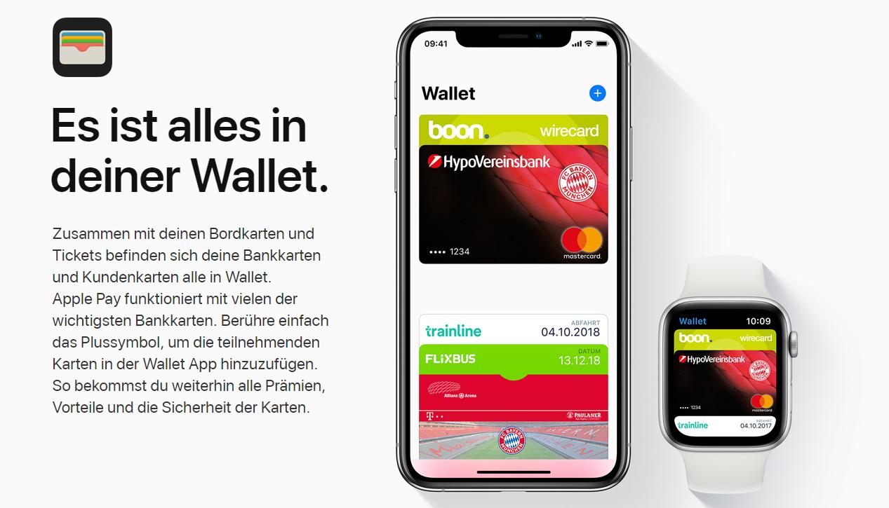 Die Wallet ist auch auf der Apple Watch verfügbar