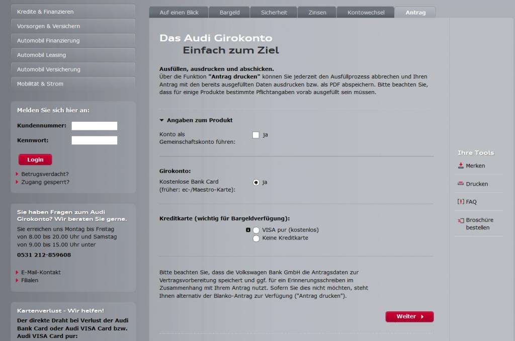 Das Kontoeröffnungsformular der Audi Bank