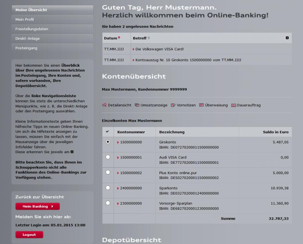 Online Banking im Audi-Bank-Schnupperkonto