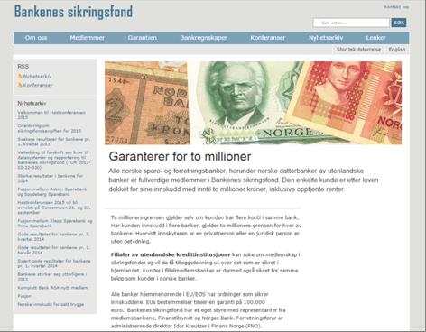 Die Homepage des Bankenes sikringsfond