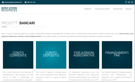 Das Unternehmensportal der Banca Sistema