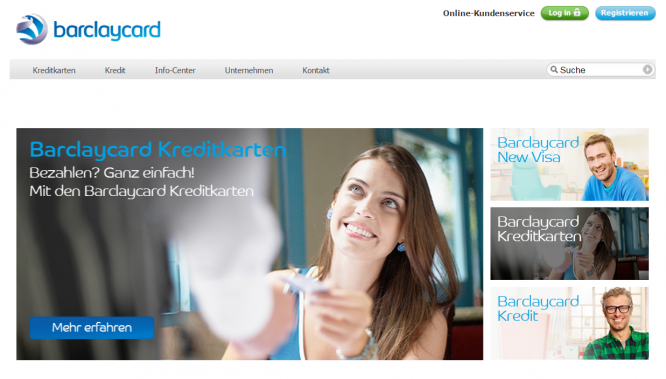 Die Startseite von Barclaycard