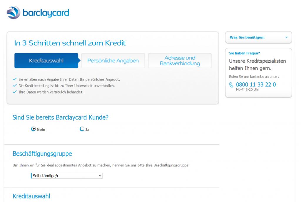 Der Kreditantrag bei Barclaycard