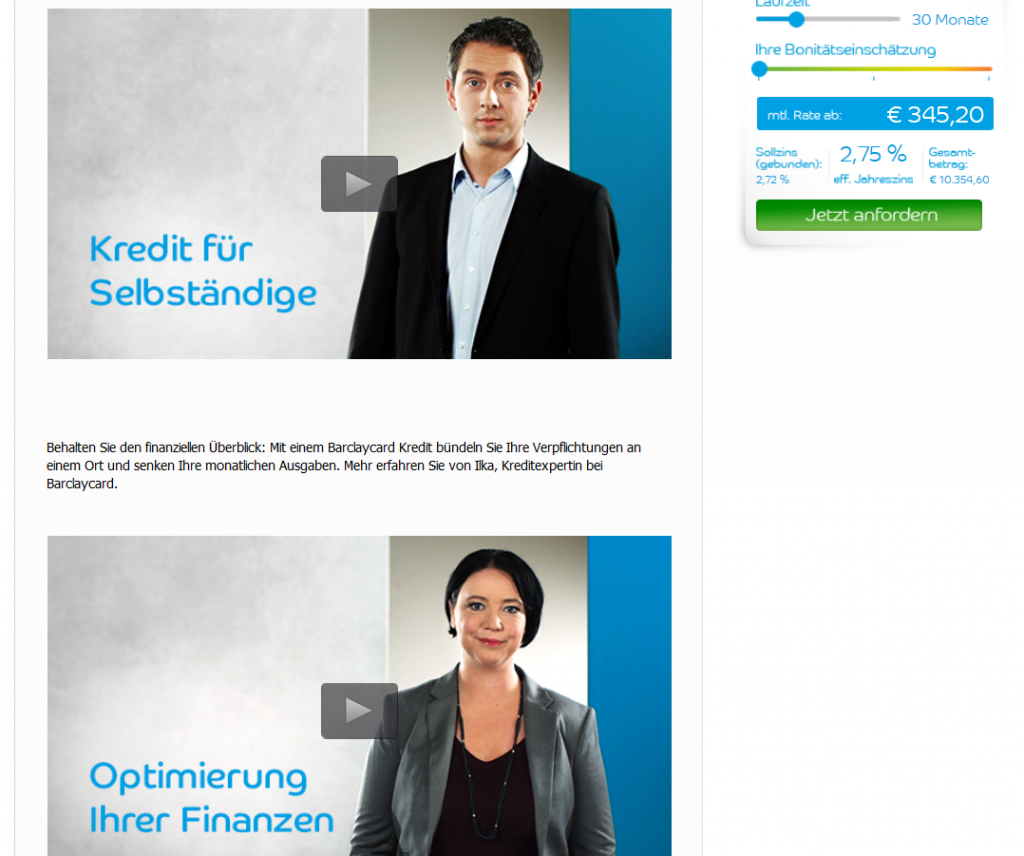 Kredit-Videos bei Barclaycard