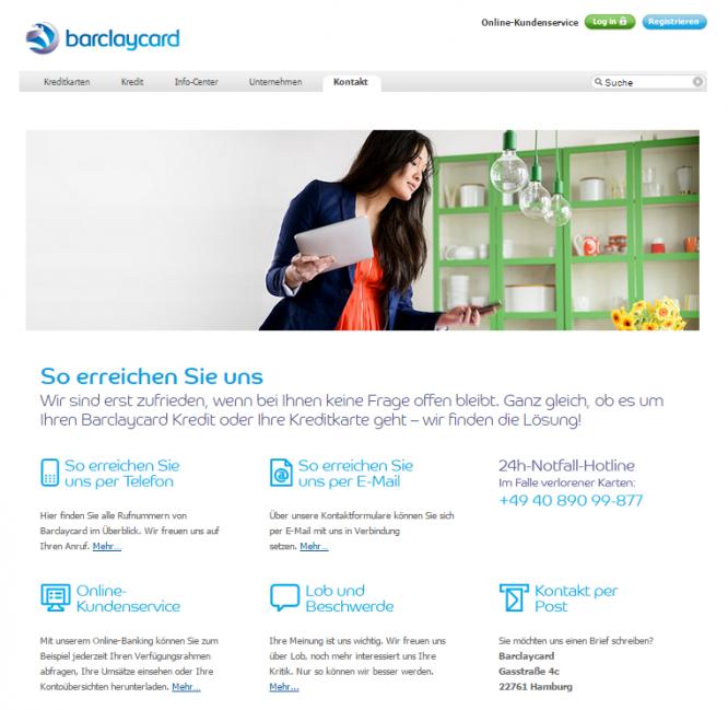 Das Serviceangebot von Barclaycard