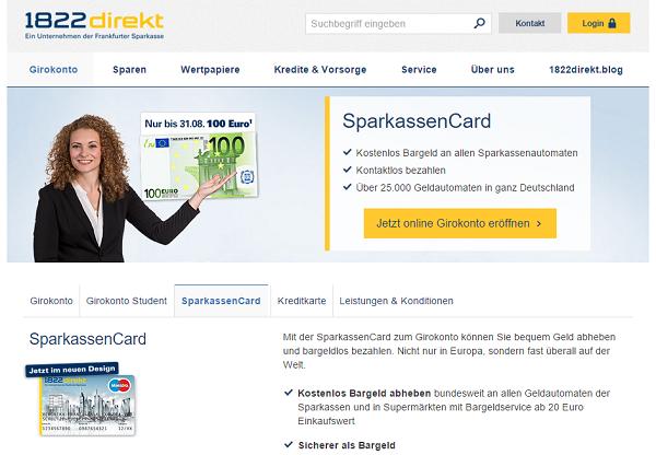 Hinter der Bezeichnung SparkassenCard verbirgt sich eine ganz normale EC-Karte, mit der man an allen Automaten der deutschen Sparkassen kostenlos Geld abheben kann.