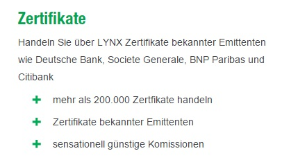 Handel mit Zertifikaten bei Lynx