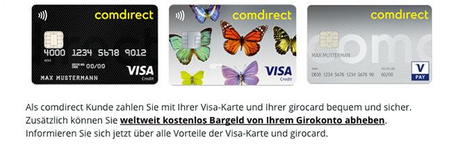 Die verschiedenen Ausführungen der Comdirect Visa Karte