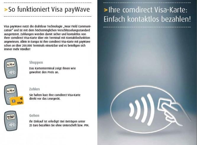 Comdirect VISA Kreditkarte Online Einkaufen mit kontaktlosem Bezahlen