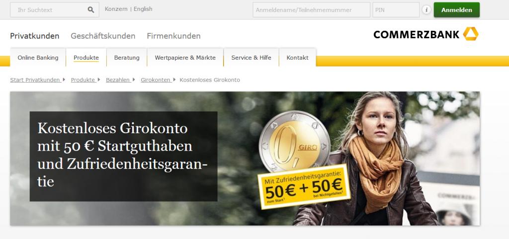 Die Commerzbank bietet 50 Euro Startguthaben