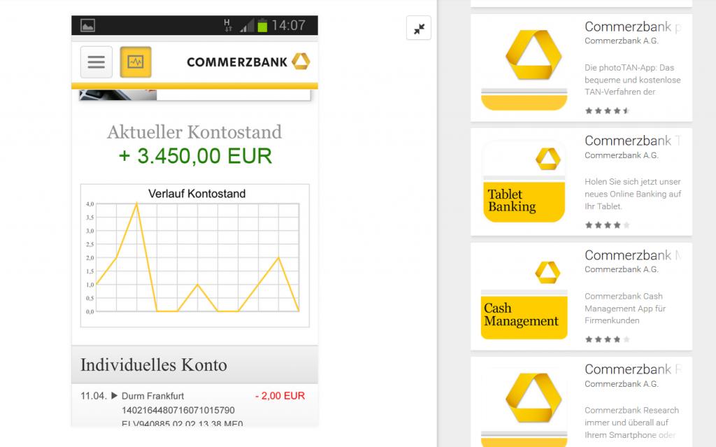 Apps bei der Commerzbank