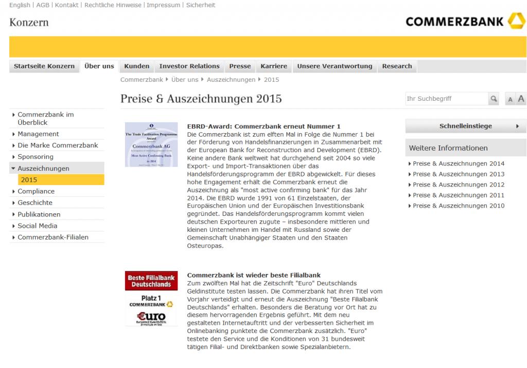 Zahlreiche Auszeichnungen bei der Commerzbank