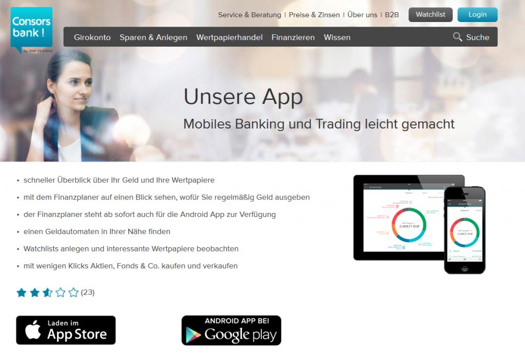 Mobile Banking Apps bei der Consorsbank