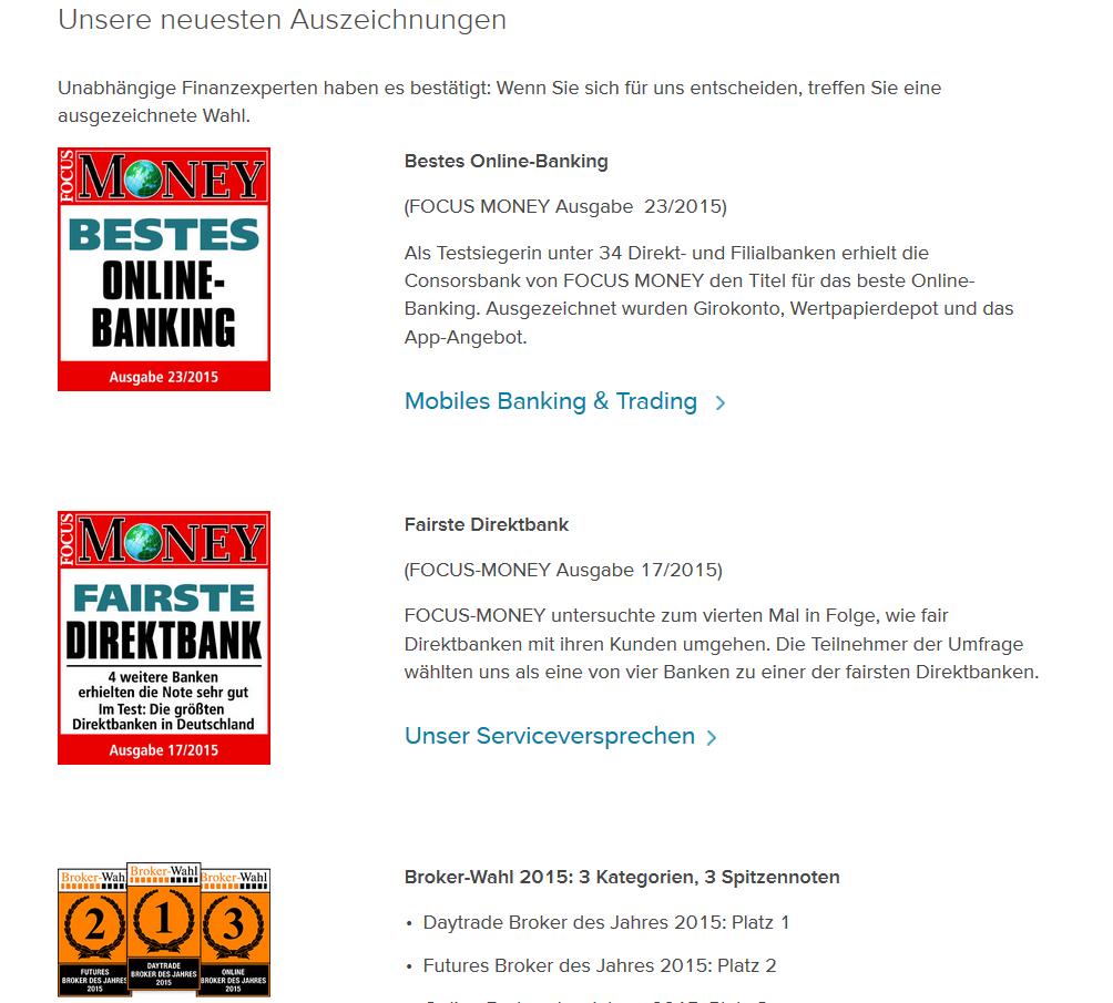 Auszeichnungen bei der Consorsbank
