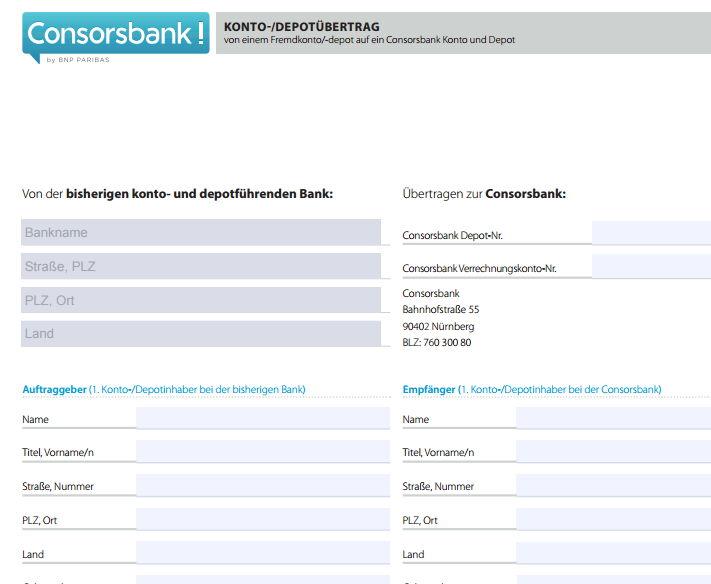 Consorsbank Depotwechsel zur Consorsbank