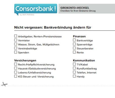 Consorsbank Girokonto Umzugshelfer