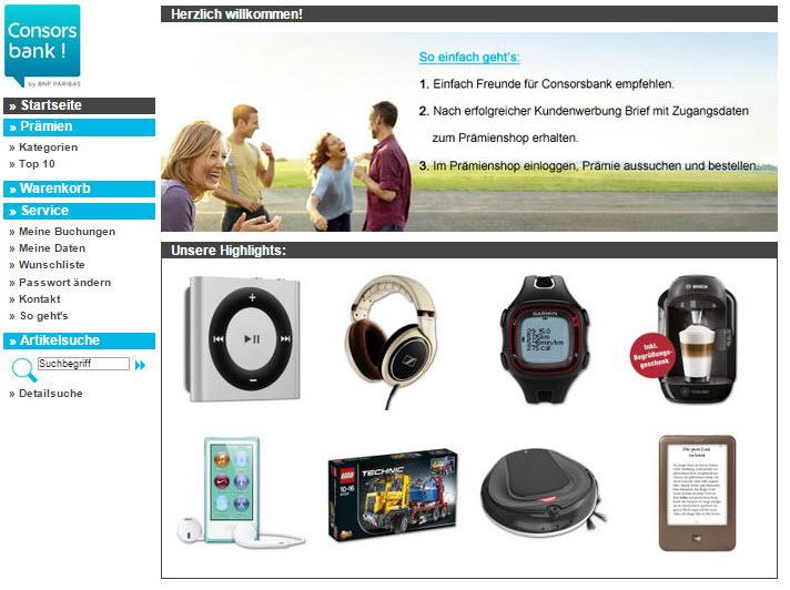 Consorsbank Prämienshop Startbildschirm