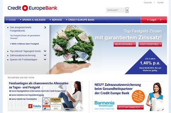 Die Webpräsenz der Credit Europe Bank