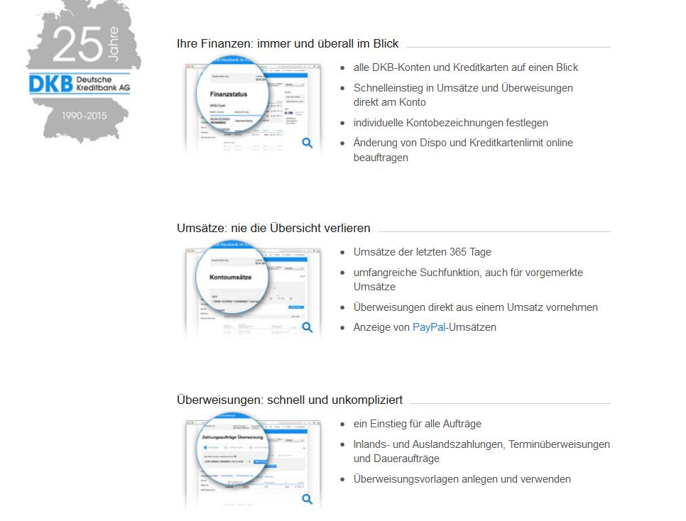 Funktionen im Online Banking