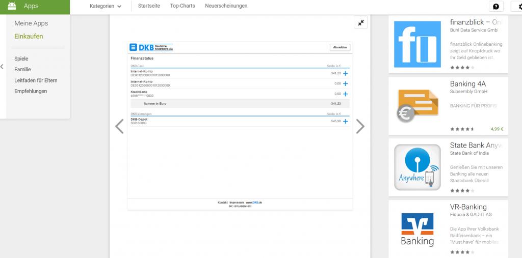 Die DKB App im Google Play Store