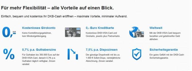Viele Vorteile bei der DKB Cash