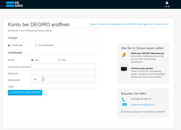 Das Kontoeröffnungsformular von DeGiro