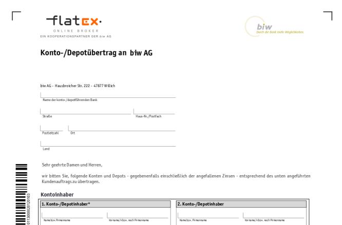 Das Formular für den Depotübertrag bei Flatex