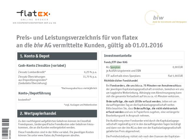 Das Preis- und Leistungsverzeichnis von Flatex
