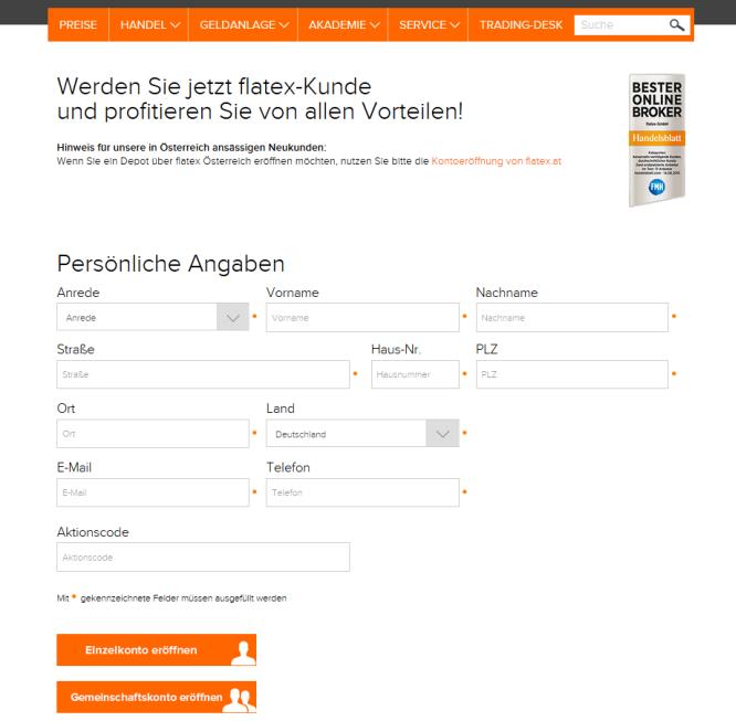 Das Kontoeröffnungsformular von Flatex