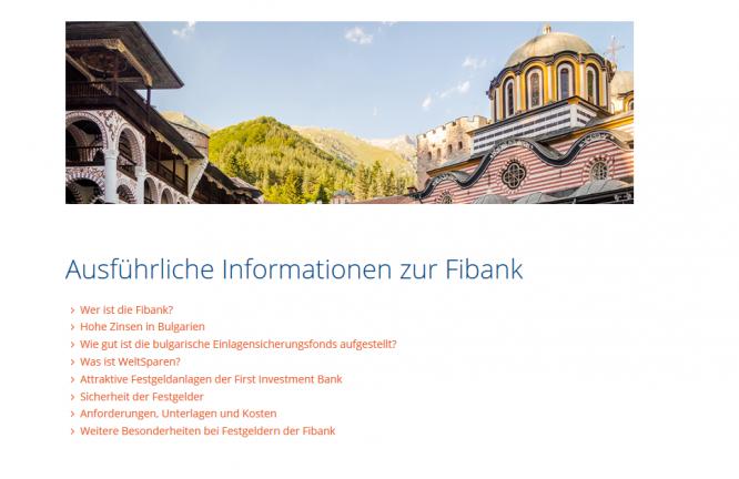 Auf der Website von Weltsparen finden Kunden Informationen zur Fibank