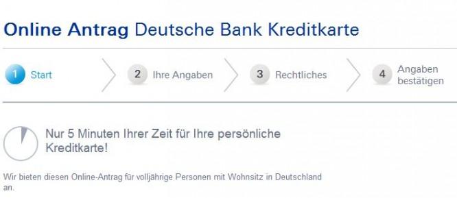 Online-Antrag für die Deutsche Bank MasterCard Travel