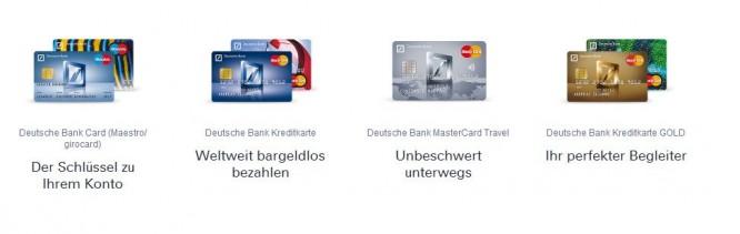 Alle Karten der Deutschen Bank in der Übersicht