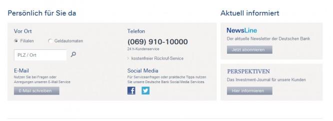 Anmeldung beim Kundenservice der Deutschen Bank