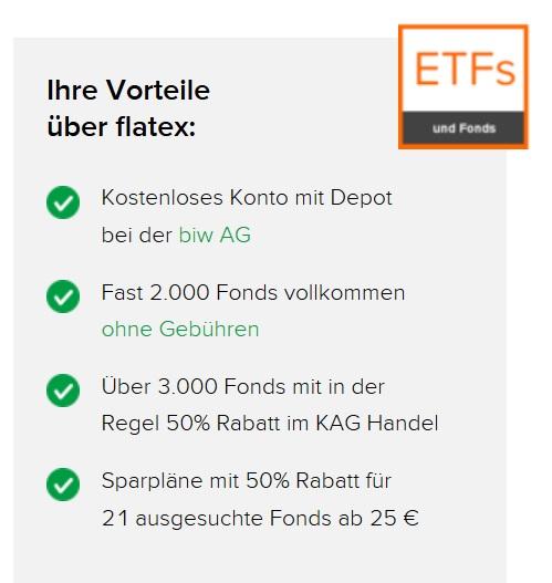 flatex ETF-Sparplan - Vorteile Fonds (kein Sparplan)