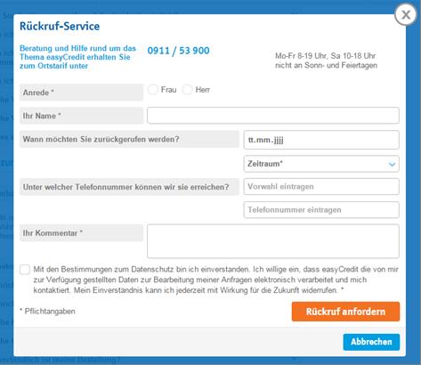 Das Formular für den Rückruf-Service bei easyCredit