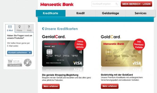 Die Hanseatic Bank bietet verschiedene Kreditkarten an