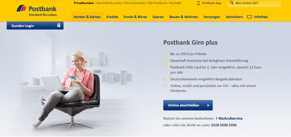 Prämien von bis zu 250 Euro bei der Postbank